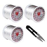 Fil pour Perle (Lot de 3) - Rouleaux de 60 m de câble avec Coupe-Fil - Bobine de Fil de Nylon Élastique pour Bracelets, Fabrication de Bijoux, Loisirs Créatifs et Artistiques, Décorations