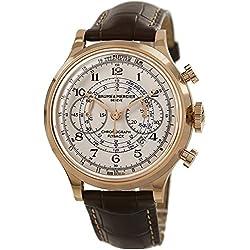 baume-et-mercier capeland 1000744mm automático 18K oro rosa Funda de piel marrón Antirreflectante Sapphire Reloj para hombre