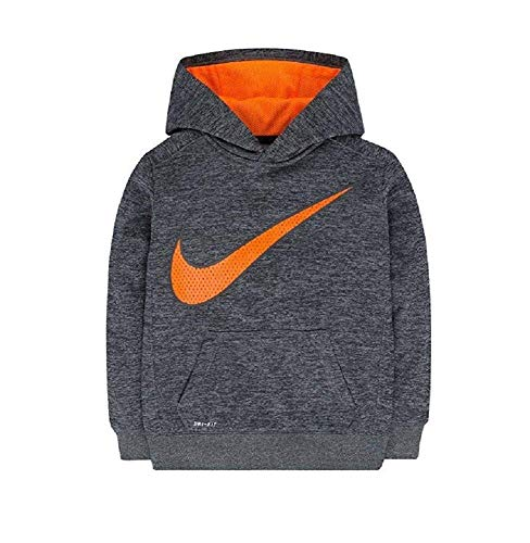 Nike Kids Fleece (Nike Therma Boys Dri-Fit Therma Fleece Hoodie Pullover, Grey Heather/Total Orange (Child Size 4))