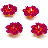 Aapno Rajasthan Flower Wax Candle Diyas For Decoration - Set Of 4