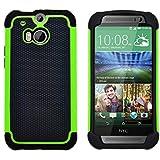 GizzmoHeaven HTC One M8 stoßfest Handy Schutzhülle Stoßgedämpfter extraharte Stylischer Silikon Gel Cover Case hülle für HTC One M8 - grün