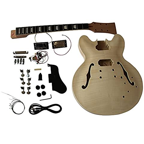 Mahogany Semi Hollow body Electric Guitar DIY Kit for Student & Luthier Projects Big Guitar Solid Mahogany / Basswood with Maple