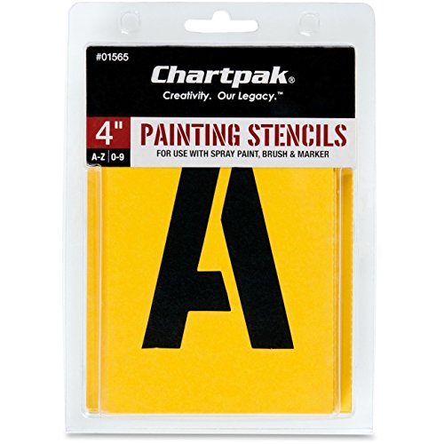 Chartpak Painting Stencil Set, A-Z Set/0–9, Manila, 35/Set