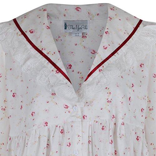 The 1 for U 100% Baumwolle Viktorianisches Stil Nachthemd / Hausmantel Amelia XS Vintage Rose