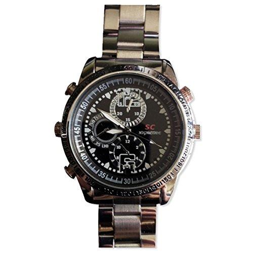 Orologio spia in metallo, con telecamera 4 gb, colore: nero