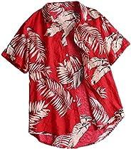 Yisism Men Short Sleeve Big & Tall Printed Hawaiian Button Up S