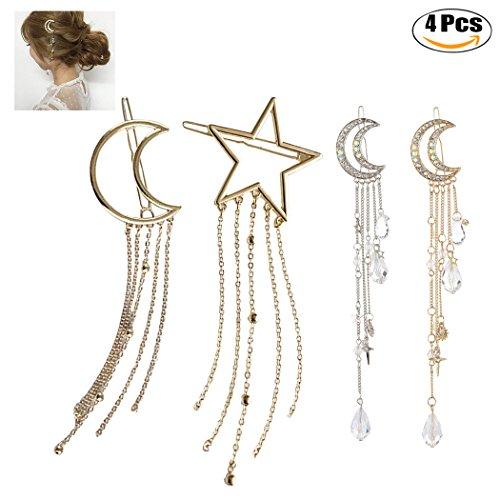Zoylink 4 STÜCKE MäDchen Haarspange Legierung Modische Sterne Mond Quasten Haarspange Haarnadel Haar ZubehöR FüR Frauen Styling
