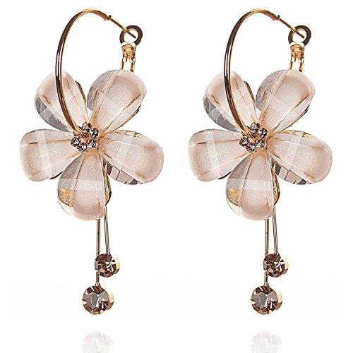 YouBella Gold Plated Drop Earrings for Women (Off-White)(YBEAR_31191)