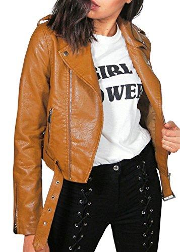 Womens Revers Faux Leder Biker Jacke Slim Fitted Zip Up kurze Bomber Jacke (Leder Bomber)