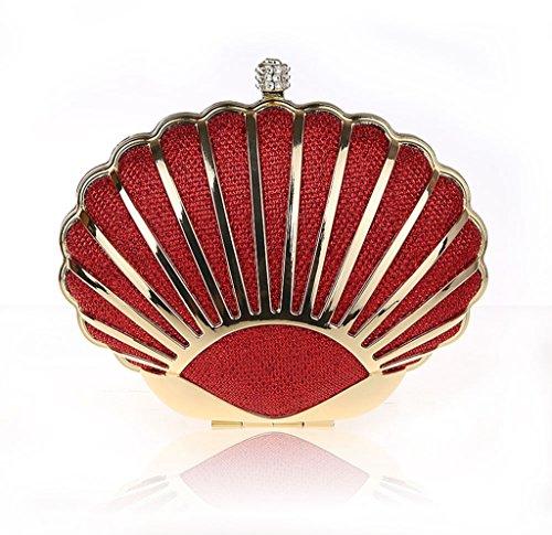 Nuovo pacchetto banchetto borsa da sera vestito da modo del sacchetto di banchetto mini guscio diamante del cinturino dell'orologio mano ( Colore : Nero ) Rosso