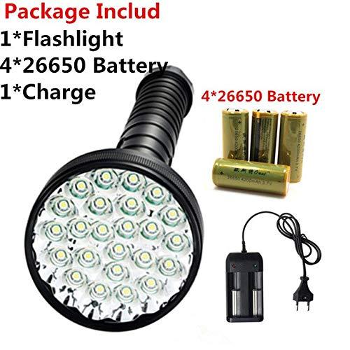 Lampe torche LED JEANIGHT avec batterie 26650-24 x T6-400 lumens - Lampe torche d'auto-défense - Batterie 26650