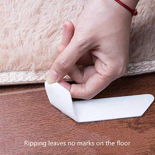 Zenzus Rug Gripper, 8pc White Anti Slip Rug Gripper for Wooden Floors, Keep Your Rug in Places for Corners and Edges, Reusable Anti Curling Rug Gripper for Carpets - Ideal Anti Slip Rug Pad for Rugs