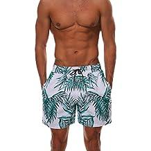 Naturazy BañAdor Shorts Playa Natacion Hombre 3D Hojas ImpresióN Pantalon Corto PoliéSter Secado RáPido Bermuda Moda