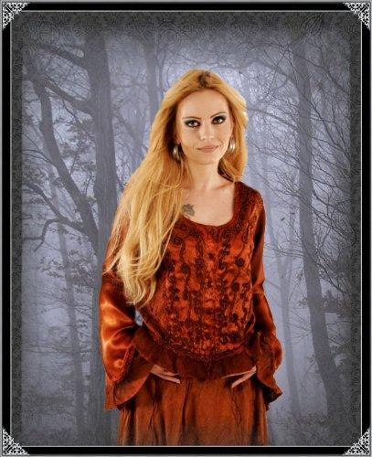 Bäres Vampire - Damen Gothic Bluse Kali Bordeaux