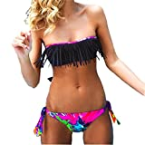 Rawdah Donne Bikini solido nappa costume da bagno del Beachwear dello Swimwear del vestito di bagno (M, Nero)