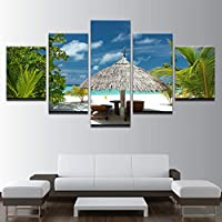 WYCQT Prints on Canvas 5 Pieces Beach Recliner Thatched Umbrellas Landscape Poster Home Decor Living Room (No Frame)