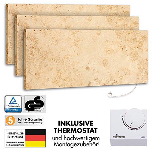 3er-Pack Marmony M800-0066 Jura mit Thermostat Marmor Naturstein Infrarot-Heizung inkl. Montagematerial, steckerfertige Wandheizung zum Aufhängen