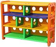 IDEALT Multi-fuction Storage Organizer 3-Tier Shoe Rack Bookcase Book Shelf for Kids Corner Shelf