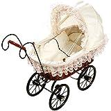 Puppenwagen / Puppenbett aus Rattan im bildschönen Design inkl. Wäsche und beweglichem Verdeck, ab 3 Jahre