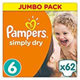 Pampers Simply Dry Windeln, Größe 6 (Extragroß) 15+ kg, Jumbo Pack, 62 Stück