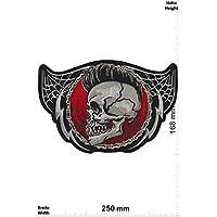 Aufn/äher Embleme B/ügelbild Aufb/ügler - Totenkopf - Iron On Patches Patch-Iron-Totenkopf Irokese mit Pizza