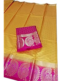 Devpriya Fashion And Pink Kanjeevaram Silk Saree With Blouse