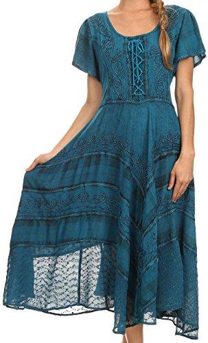 Sakkas 15323 - Mila Lange Korsett gestickte Kappe Ärmel Kleid mit verstellbarem Taillen - Türkis - S/M Gypsy Thread