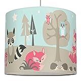 anna wand Lampenschirm LITTLE WOOD - Schirm für Kinder/Baby Lampe mit Waldtieren in versch. Farben – Sanftes Licht für Tisch-, Steh- & Hängelampe im Kinderzimmer Mädchen & Junge