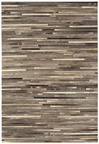 Teppich Wohnzimmer Carpet modernes Design GAUCHO RUG 100% Leder 160x230 cm Rechteckig Grau Streifen   Teppiche günstig online kaufen (Mädchen Gaucho)