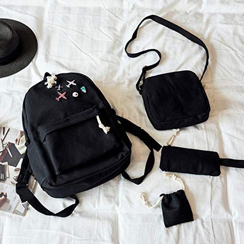 DK-tre Schultasche für Damen, Leinen, für Studenten, Frauen, Rucksack für Teenager BK -