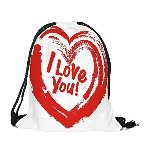 WWricotta Valentine's Day Drawstring Bag Sack Sport Gym Travel Outdoor Backpack Bags G(Mehrfarbig,L) -