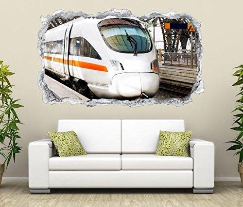 3D Wandtattoo Zug ICE Eisenbahn Fahrzeug Wand Aufkleber Durchbruch Stein selbstklebend Wandbild Wandsticker 11N824, Wandbild Größe F:ca. 97cmx57cm
