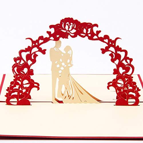 Papier Spiritz Wedding Day 3D Pop up Grußkarte Postkarte Passende Umschlag Laser Schnitt handgefertigt Happy New Year Geburtstag Post Karte Spring Festival Valentinstag Geschenk (1Stück)
