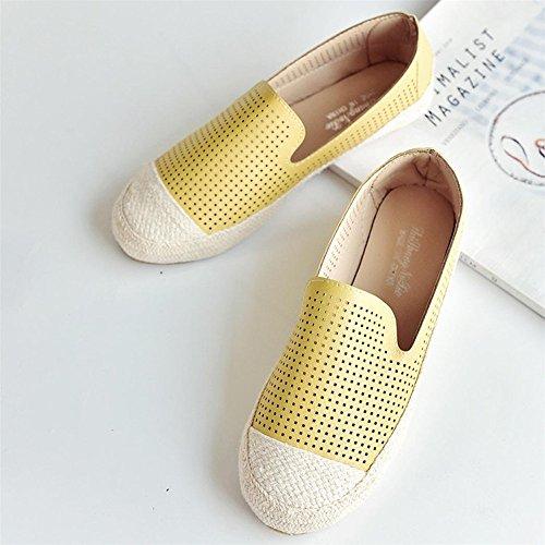 Longra Donna Scarpe basse scarpe nere di primavera e autunno calzature da lavoro scarpe da lavoro Giallo