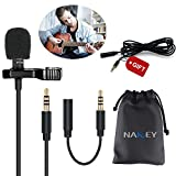 Mikrofon für Smartphone,Kondensator-Lavalier Mikrofon für iPhone & Android Smartphone,Nakeey Microphone Clip-On Microphone für Laptop Macbook, iPad + Gifts 2M Adapter für Revers- Ansteck Mikrofon