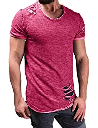 Men's Fashion Ripped Solid Color Cotton Loose Fit Crew Neck T Shirts Casual Summer Short Sleeves Top