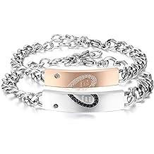 """Jewelrywe 2pcs Pulseras Plateadas de Parejas Enamorados """"Eres Mi Corazón"""" Pulseras de Corazón Hombre Mujer Acero Inoxidable Plateado Oro Rosa, San Valentín"""