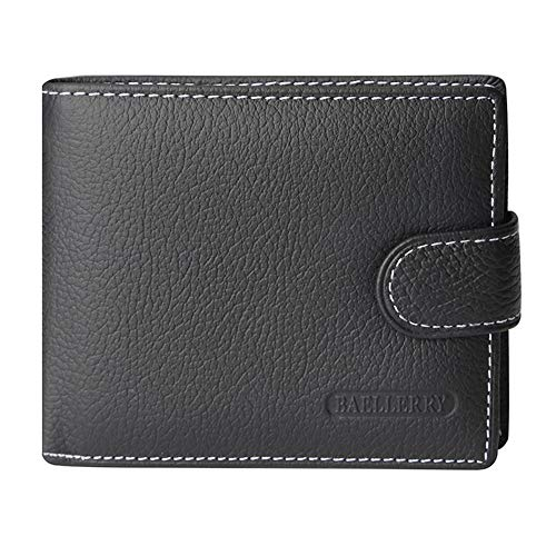 SHOE GONE Herren Echte RFID Leder Blocking Bifold Wallet Mittel Black1 - 5 Pass-währung Wallet