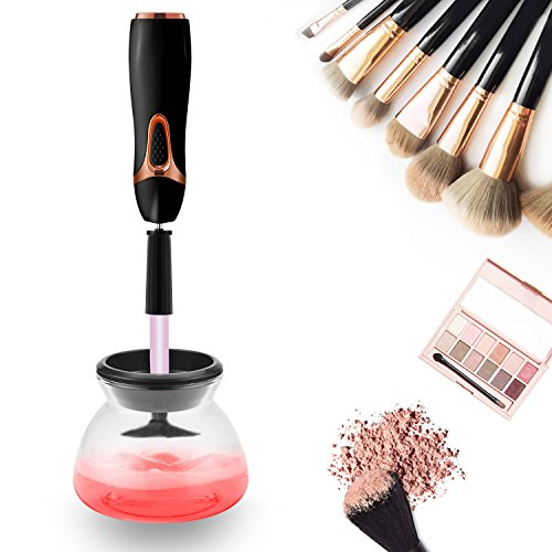 Macchina Pulizia del Pennello, Make Up Brush Cleaner - Completamente Pulito e asciutto in pochi secondi in rotazione a 360 ° con 8 Supporti in Gomma, Adatto per Tutte le dimensioni di Pennelli per il Trucco