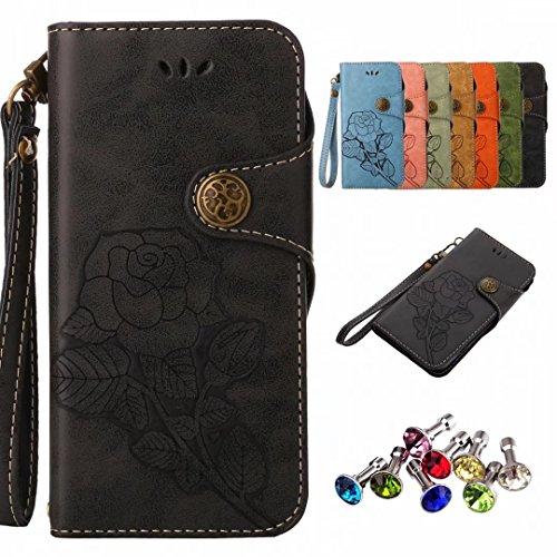 Yiizy handyhülle für Microsoft Lumia 640 LTE Hülle, Roses Tasche Leder Schutzhülle PU Ledertasche Schutz Cover Magnet Beutel Silikon Gummi huelle Schale Stehen Kartenhalter Stil (Schwarz)