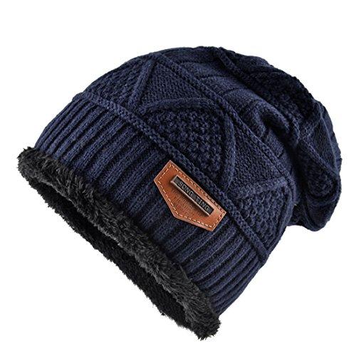 Kuyou Berretto in maglia Di lana Uomo Cappello Beanie Inverno (Blu)