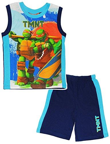 Unbekannt Set: Achselshirt / Muskelshirt & Kurze Hose / Pyjama -  Teenage Mutant Ninja Turtles  - Größe: 2 Jahre - Gr. 98 - für Mädchen Kinder - 100 % Baumwolle - tür..