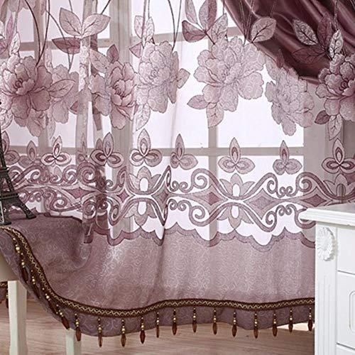 PENVEAT Stilvolle Blume tüll tür Fenster Vorhang Schiere schal schabracken 4 Farben Wohnzimmer Vorhang EIN stück, grau, 250mm länge 1 mt breit, China, Keine perlen