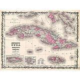 Wee Blue Coo LTD 1862 Johnson Map Cuba and Porto Rico