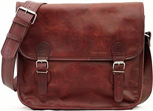 PAUL MARIUS Borsa in pelle A4 stile vintage taglia (M) LA SACOCHE BRUN D'AUTOMNE colore marrone autunno