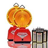 LED-MARTIN 2er Sparset Warnleuchte - gelb - Blinklicht - Warnleuchten - Baustelle - Straßenbau - Absicherung - Straßenverkehr - Absperrtechnik