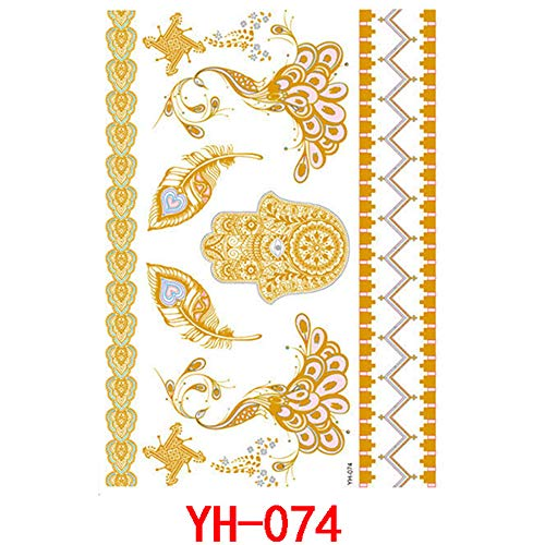 Adgkitb hot tattoo tattoo sticker in metallo impermeabile tatuaggio sticker tattoo 7 14.8x21cm