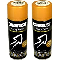2 x CANBRUSH Spray Paint - for Metal Plastic & Wood 400ML - Gold