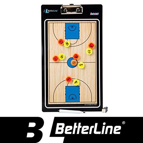 Premium tablero de entrenamiento por mejor línea–magnético portapapeles (doble cara, con rotulador elegir baloncesto, fútbol, voleibol o balonmano)–incluye imanes y marcador, Básquetbol