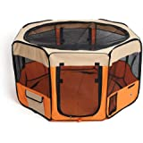 Amzdeal Fabric Pet Play Pen Folding Pet Dog Cat Rabbit Pig Playpen Pet Kennel Cage, Small, Orange